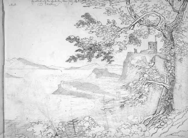 Mendelssohn's sketch of Dunollie Castle